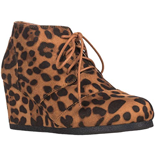 ILLUDE Women's Round Toe Lace Up Wedge Heels Suede Ankle Boots Booties (9, Leopard)