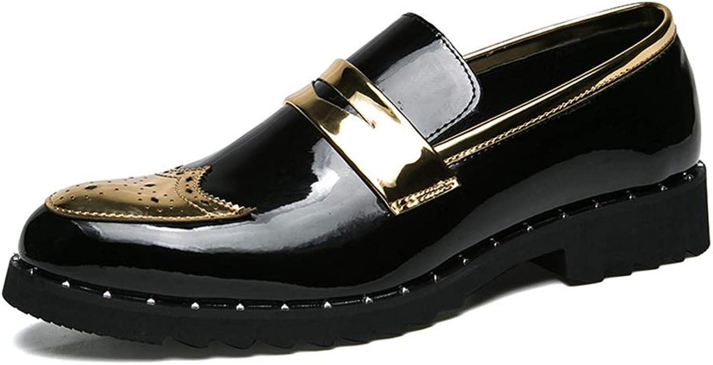 SHENNANJI Herrenmode Brogue Schuhe Oxford Casual Persönlichkeit Patchwork Slip Slip Slip On Lackleder Schuhe  5ed159