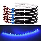 Bkinsety 10Pcs LED Tira de luz Flexible Impermeable 30CM 3528SMD Decoracion LED Luces para Inicio Cocina Dormitorio Bar Coche(Azul)