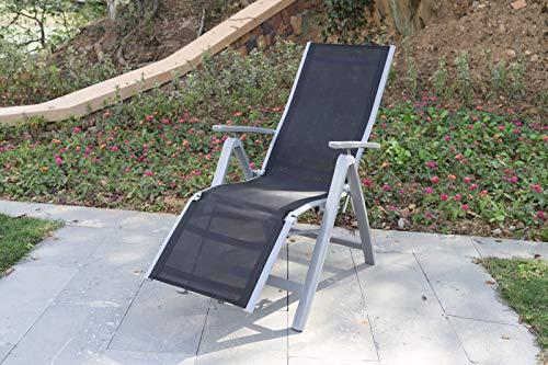 Villana Relaxsessel, Silber/schwarz, Alu/Textilene, 67 x 58 x 110 cm, klappbar