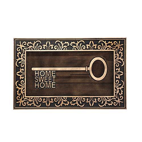 H HANSEL HOME Felpudo para Puerta Entrada Goma Llave Casa Antideslizante 75x45x1 cm