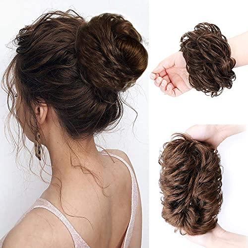 HMD 100% Human Hair Bun, Messy Bun Hair Piece 100% Human Hair Bun Extension Scrunchie Chignon Ponytail Extensions for Women Updo Donut Hairpiece...