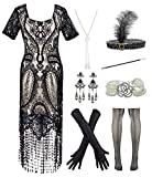 Womens Vintage Lace Fringed Gatsby 1920s Cocktail Dress with 20s Accessories Set (XL, Black)
