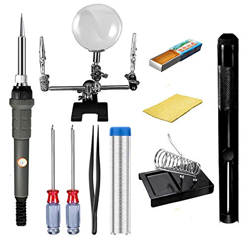 Great Price! TQ 60W 110V/220V 10 in 1 Electric Soldering Iron Kit Soldering Sucker Magnifying Glass,...