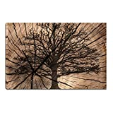 Artsbay Tree Wall Art Decor Black Tree Silhouette in Rustic Wood Backdrop Autumn Scenery Landscape Pictures Painting on Canvas Print Modern Tree Decor for Living Room Bedroom Office Wall Decoration