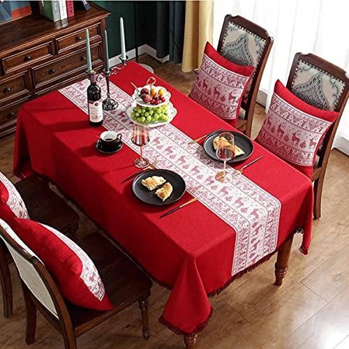 Mantel de Navidad rectangular, 140 x 180 cm, poliéster, diseño de leña, rojo, sin arrugas, lavable, para fiestas, comedores, decoración del hogar