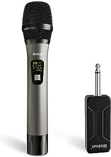 Wireless Microphone, UHF Metal Dynamic Handheld Karaoke Mic, Rechargeable Receiver (Work 6hs), 260ft Range, for Karaoke, Singing, Stage, Wedding, Speech, Karaoke Machine, Speaker, Amplifier, Mixer