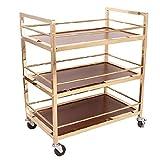 LPCG Rolling Kitchen Bathroom Trolley Cart/Metal Solid Wood Wine Rack/Utility Storage/Home Restaurant Island Sirviendo el Carrito con Ruedas