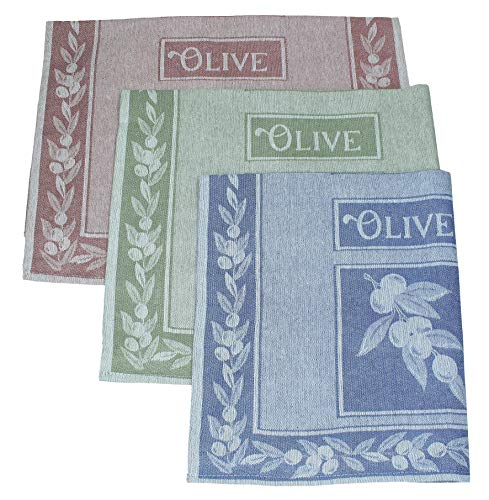 Betz Lot de 3 torchons en Lin mélangé Olives Taille 50x70 cm Couleur Bleu Vert Rouge