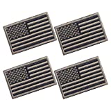 4 Pieces American Flag Patch 3.2 X 2.0 Inch Tactical USA Flag Patch Embroidered Cloth Sew on US Flag Patch (Black+Army Green)