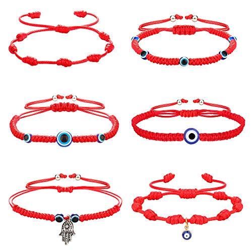 Milacolato 6 Pieces Evil Eye Bracelet for Women Men Handmade Braided Kabbalah Good Luck Red String Bracelet Rope Cord Thread Friendship Bracelet Adjustable Bracelets Minimalist Jewelry