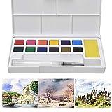 Juego de pintura de acuarela para niños, portátil, ligera, para viajes, con acuarela, caja de pintura con pincel para adultos, principiantes, niños y estudiantes (12 colores)
