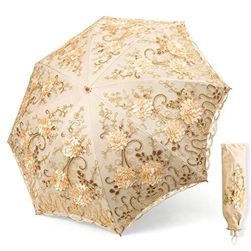 NFHBBAA Mesdames Parapluie Dentelle Brodé Pluie Fille UV Parapluie Haute Qualité