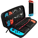 Case for Nintendo Switch, Switch Carry Case with 2 Pack Screen Protector Glass and 20 Game Cartridge -...