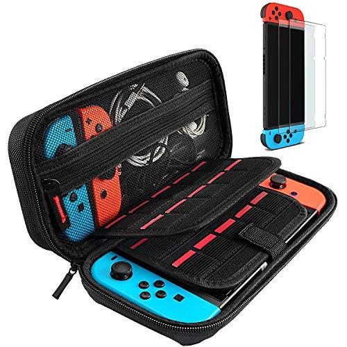 daydayup Tasche kompatibel mit Nintendo Switch, Harte Hülle Hülle Tragetasche mit Schutzfolie[2 Stück], Schutzhülle mit Aufbewahrung für 20 Spiele, Konsole und Zubehör - Schwarz