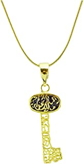 Passage 7 18K Real Gold Plated Koran Scripture Islam Arab Key Pendant Necklace