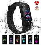 EUMI Écran Coloré Montre Connectée Smartwatch Podomètre Tracker d'Activité Bracelet Sport, Etanche IP68 Montre GPS Connectée...