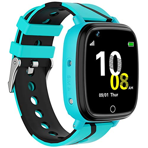 Kids Smart Watch GPS Tracker - Waterproof GPS Tracker Watch for Children Girls Boys with SOS Call Camera Touch Screen Game Alarm for Kids Boys and Girls (Blue)