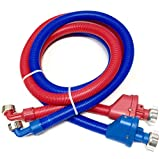 2-pack Flood Safe Washing Machine Hoses - 5 FT Heavy Duty PVC Hose Sealed With Rigid Corrugated Outer Wall in Red-Blue and Built-in Auto Shut-off Valve and Univeral 90 degree elbow Connection