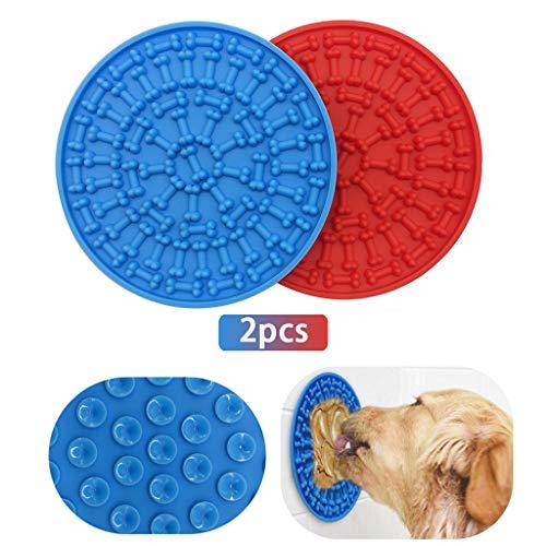 Hongfago Pet Slow Feeder Dog, 2 Pcs Dog Bath Lick Mat, Hund Katzen Bad Waschen Dusche Training Ablenkung Spielzeug, Doggy Puppy Grooming Trocknen Spielzeug Mit Super Starke Saugkraft(Blau+Rot)