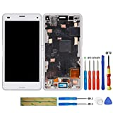 swark Pantalla LCD compatible con Sony Xperia Z3 Compact Mini D5803, D5833, SO-02G (blanco con marco), digitalizador y herramientas