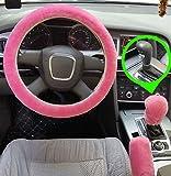 Set 3 pezzi Coprivolante peluche Coperchio freno a mano in lana sintetica Fodera per auto Copridivano per auto Coprisedili per auto Accessori interni (pink for Automatic)