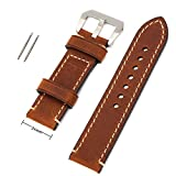 24mm Width Brown Genuine Leather Wristwatch Band Men Watch Strap Watchband