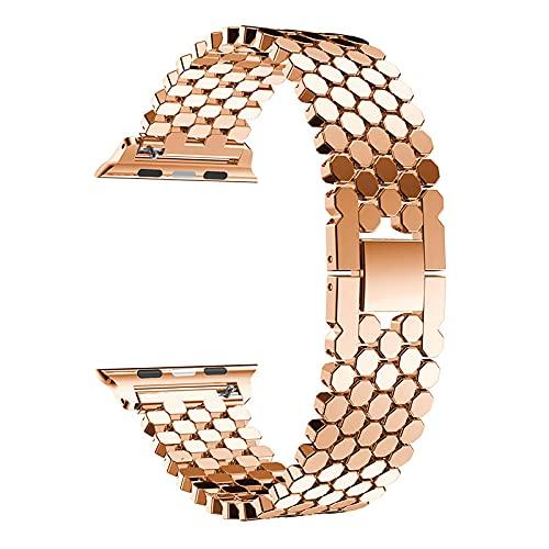 Watch Band Correa De Acero Inoxidable para Correa De Reloj De Apple 38 Mm 42 Mm Pulsera De Eslabones De Cinturón De Metal A Escala De Pez Iwatch Serie