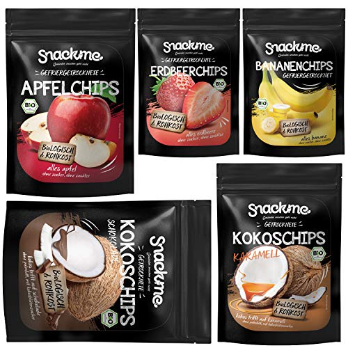 Bio gesunde Knabberzeug Snack Chips Food Box mit Kokoschips Schokolade & Karamell + Erdbeer-Chips, Apfelchips und Bananen-Chips gefriergetrocknet vegan