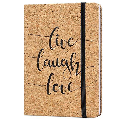 Navaris Quaderno con Copertina in Sughero - Taccuino a Righe con Segnalibro e Banda Elastica - Paper Note-Book 17.8x12.8x1.5cm - Live Laugh Love