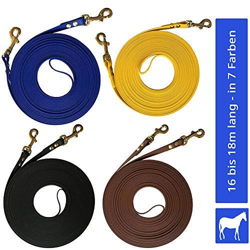 bio-leine Doppellonge 16m lang I 16mm breit - in Blau - Longe Longierleine für Pferde aus Beta Biothane I Pferdelonge für Reitsport