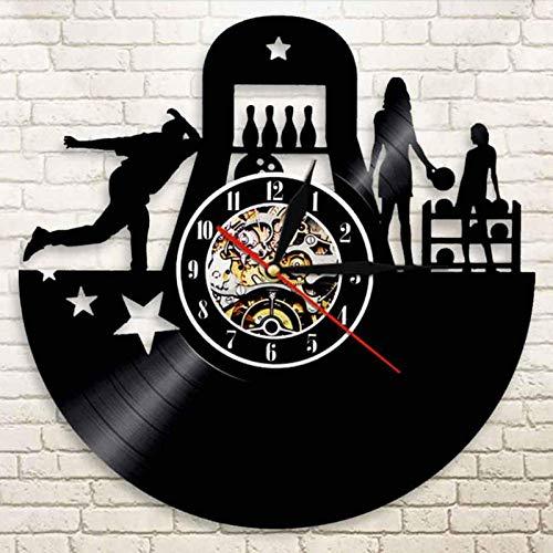 XCJX Vinyl Schallplatte Wanduhr modernes Design 3D-Dekoration hängen Bowling Sport Vinyl Schallplatte Uhr Schüssel Club Wand Wanduhr Heimdekoration 30x30cm kein Licht Keine Batterie