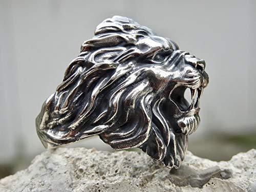 Royal Lion Ring Sterling Silver 925 Roaring Head Wild Animal Handmade Jewelry