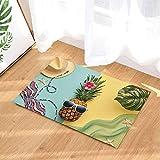 SHUHUI Alfombra temática de Moda de piña,baño de Cocina Absorbente y Duradero cojín de Franela Suave Antideslizante para la habitación de los niños