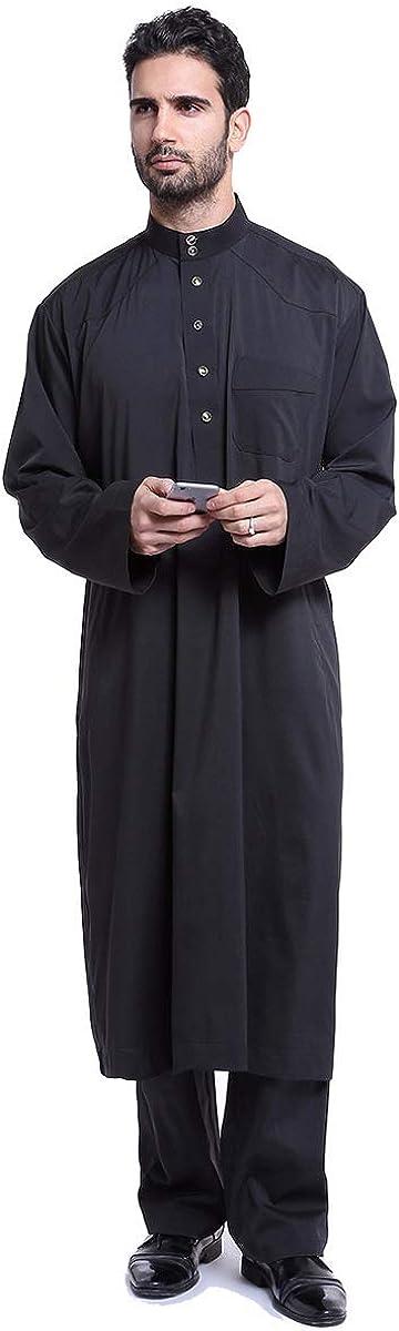 MOLINGXUAN Mens Nightshirts for Sleeping, Men's Solid Color Robe Muslim Arab Middle Eastern Men's Robe Suit