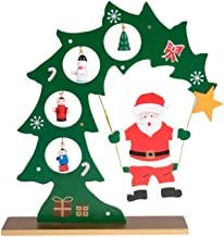 Clever Creations Wooden Table Top Santa Swinging from Christmas Tree Green and Red with Gold Base   4 Painted Hanging Ornaments   Fits Any Christmas Decor   100% Real Wood   Stands 8.75