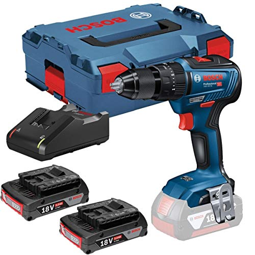 Bosch Professional 06019H5305 GSB18V-55 Perceuse visseuse à percussion Brushless 55Nm + 2 batteries 18V 2Ah Li-ion + coffret L-case