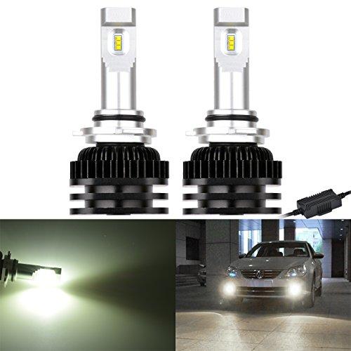 NATGIC 9005 9006 H10 HB3 HB4 Ampoules antibrouillard à LED Puces CSP hautement lumineuses CANBUS Kit de lampe pour feux de jour sans conduite 6000K et 2000LM / Ampoule au xénon blanc (pack de 2)