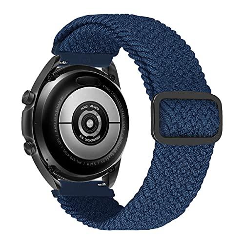 MroTech Compatibile con Samsung Galaxy Active/Active2 40mm/44mm/Galaxy Watch 42mm/Watch3 41mm Cinturino 20 mm de Ricambio per Huawei GT2 42 mm Solo Loop Nylon Banda Fibbia Regolabile-Elastica Blu