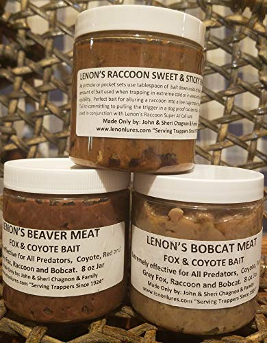 Lenon Lures Trappers 3 Pack of Coyote, Bobcat, Fox and Raccoon Trapping Bait 8 oz Jars