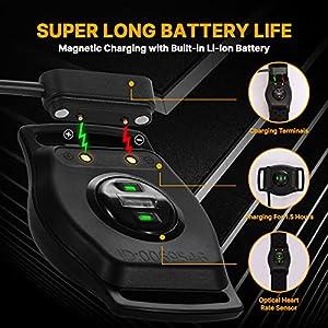 LIVLOV V9 Bluetooth ANT+ Heart Rate Monitor Armband, Rechargeable HRM Sensor IP67 Waterproof Optical Armband Heart Rate Monitor for Peloton, Zwift, Wahoo Fitness, Polar Beat, Endomondo
