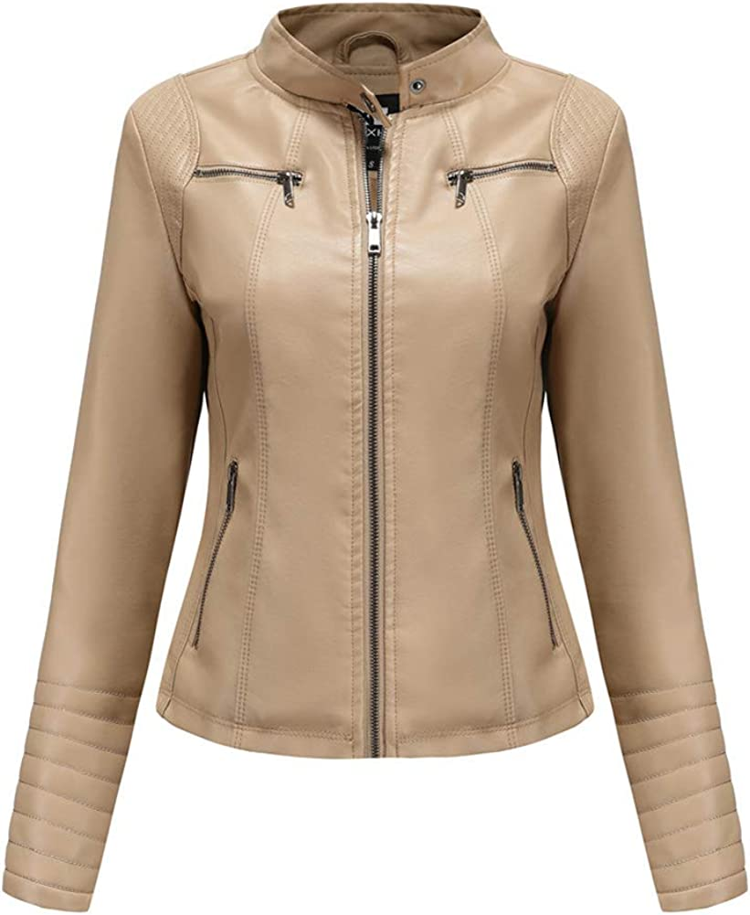 chouyatou Women's Banded Collar Zip-Up Lightweight Moto Pu Leather Quilted Biker Jacket