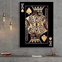 """キャンバス絵画ゴールデンポーカーキング壁画壁アートポスターとプリントリビングルームオフィス家の装飾15.7"""" x23.6""""(40x60cm)フレームレス"""