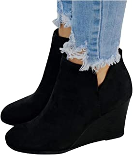 Women's Wedges Ankle Booties Retro V Cutout Comfy Short Boots Flock Leather Zip Closure Stacked Chunky Block Heels Shoes