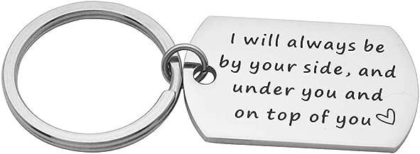 Eilygen Funny Dog Tag Keychain for Men Sexy Gift for Boyfriend Husband