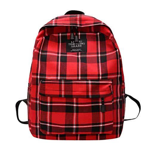 LABIUO Damenrucksack,Koreanische Frischem Kariertem Segeltuch Version Kleinen Rucksacks Schülertasche Harajuku Schultasche Handtasche(Rot,Einheitsgröße)