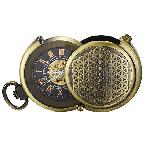 Treeewo, orologio da tasca meccanico da uomo, stile vintage, in bronzo, con catena