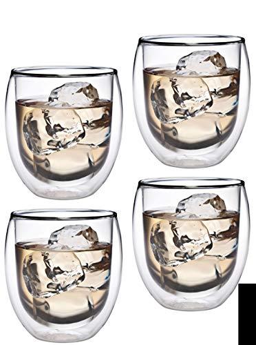 Feelino Aktion: 4 vasos térmicos de doble pared de 320 ml con efecto flotante, cristal de té/café para capuchino, café con leche, té, té helado, chocolate, postres o como vaso de hielo, Kasalla 32R by