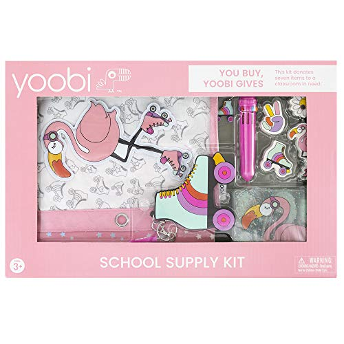 Yoobi   School & Office Supply Set   Gift for Kids   16 Piece Office Essentials Set   Flamingo Pink