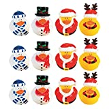 Fun Express Vinyl Holiday Rubber Duckies   12 Count   Great for Party Favors, Children's Birthday Bash, Holiday Celebrations